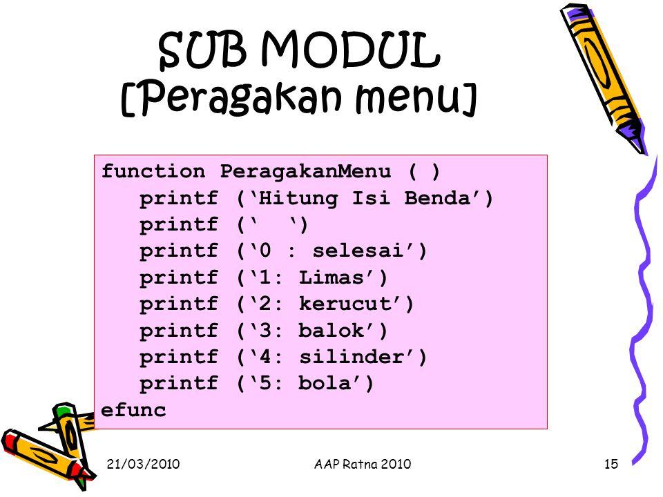 SUB MODUL [Peragakan menu]